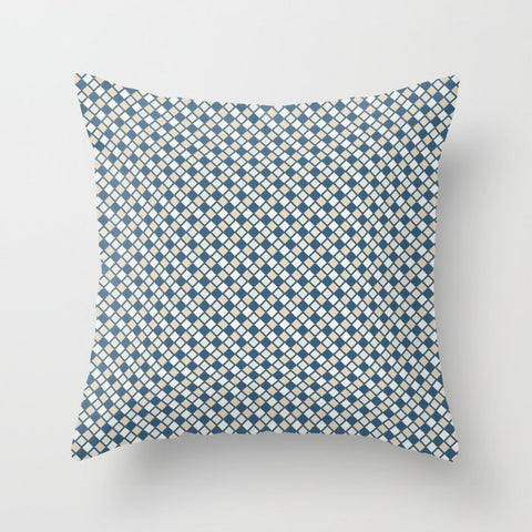 Blue & Beige Abstract Rippled Diamond Grid Pattern Pairs To 2020 Color of the Year Chinese Porcelain Throw Pillow