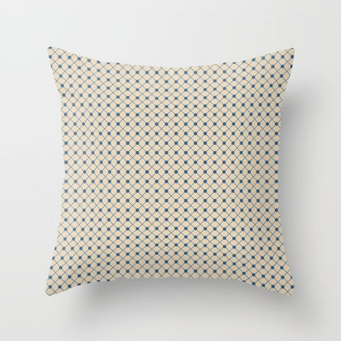 Blue & Beige Angled Polka Dot Grid Line Pattern Pairs To 2020 Color of the Year Chinese Porcelain Throw Pillow