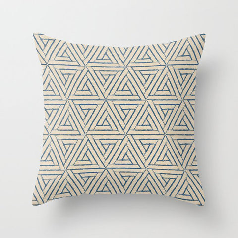 Blue & Beige Aztec Tribal Triangle Pattern Pairs To 2020 Color of the Year Chinese Porcelain PPG1160 Throw Pillow
