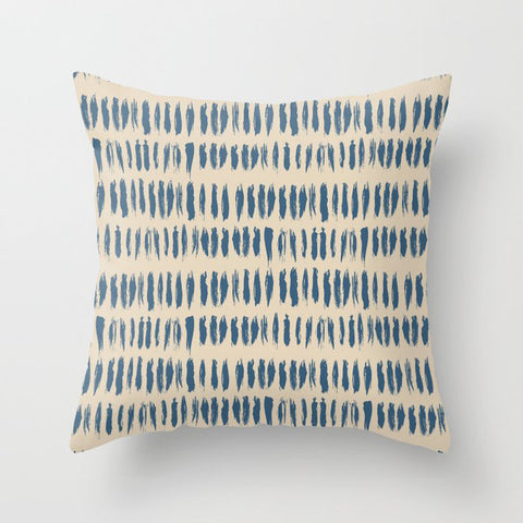 Blue & Beige Bold Grunge Vertical Stripe Dash Line Pattern Inspired by 2020 Color of the Year Throw Pillow