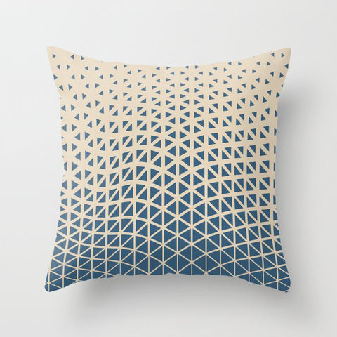 Blue & Beige Gradient Tessellation Cubism 2 Pairs To 2020 Color of the Year Chinese Porcelain Throw Pillow