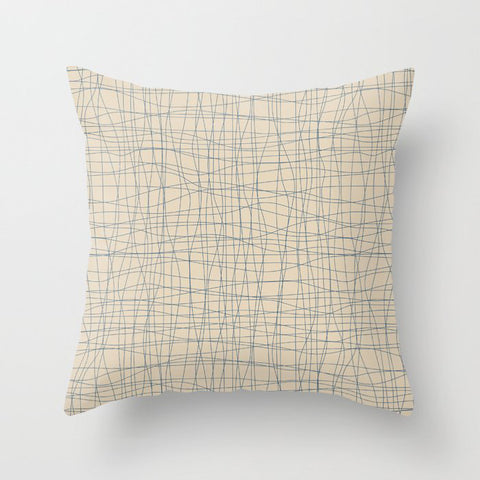 Blue & Beige Hand Drawn Abstract Mosaic Grid Pairs To 2020 Color of the Year Chinese Porcelain Throw Pillow