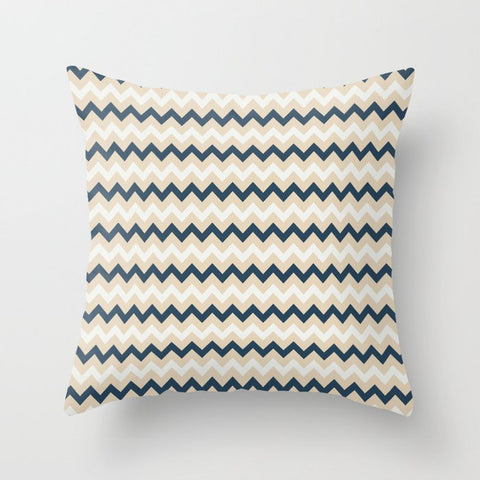 Blue, Beige, & Off-White Chevron Pattern Pairs To 2020 Color of the Year Chinese Porcelain PPG1160-6 Throw Pillow
