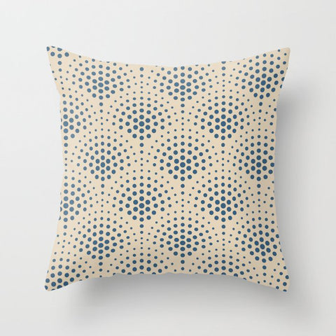 Blue & Beige Polka Dot Scallop Pattern Pairs To 2020 Color of the Year Chinese Porcelain PPG1160-6 Throw Pillow