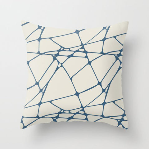Blue & Linen White Abstract Mosaic Pattern 1 Pairs To 2020 Color of the Year Chinese Porcelain Throw Pillow