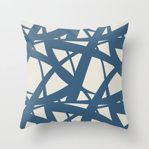 Blue & Linen White Abstract Mosaic Pattern 3 Pairs To 2020 Color of the Year Chinese Porcelain Throw Pillow