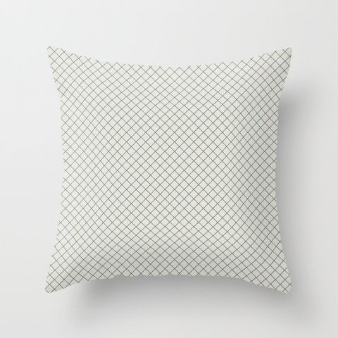 Blue & Linen White Angled Grid Line Pattern Pairs To 2020 Color of the Year Chinese Porcelain Throw Pillow