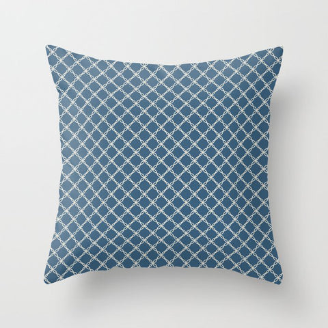 Blue & Linen White Angled Scroll Grid Line Pattern Pairs To 2020 Color of the Year Chinese Porcelain Throw Pillow