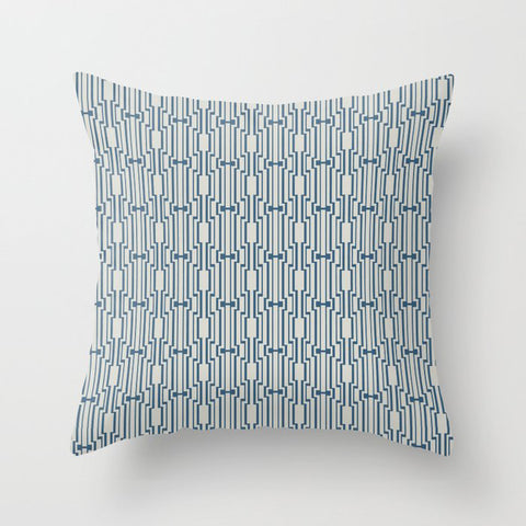 Blue & Linen White Art Deco Pattern 1 Pairs To 2020 Color of the Year Chinese Porcelain PPG1160-6 Throw Pillow