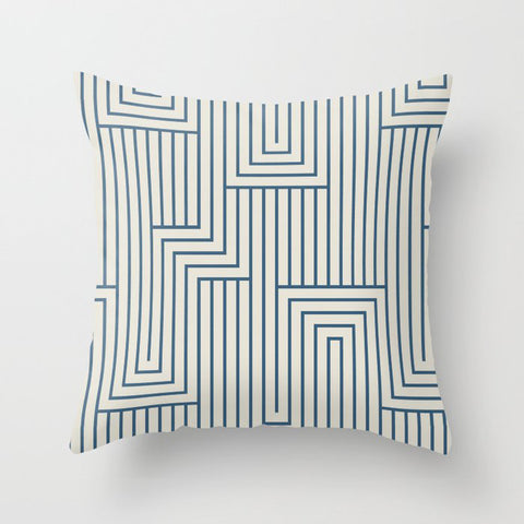 Blue & Linen White Art Decor Pattern 2 Inspired by Chinese Porcelain 2020 Color of the Year Throw Pillow