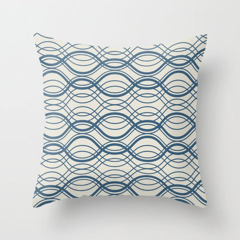 Blue & Linen White Thin Overlapping Horizontal Lines Pattern Pairs To 2020 Color of the Year Throw Pillow