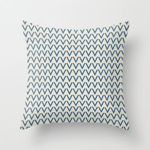 Blue & Linen White V Chevron Pattern Pairs To 2020 Color of the Year Chinese Porcelain PPG1160-6 Throw Pillow