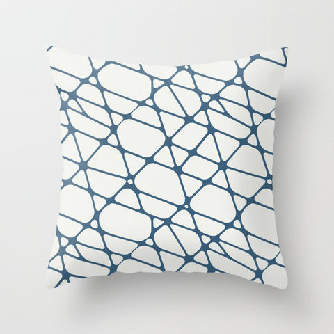 Blue & Off White Abstract Mosaic Pattern 2 Pairs To 2020 Color of the Year Chinese Porcelain Throw Pillow