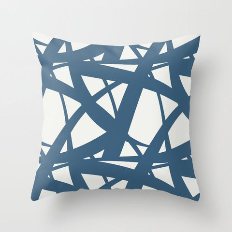 Blue & Off White Abstract Mosaic Pattern 3 Pairs To 2020 Color of the Year Chinese Porcelain Throw Pillow
