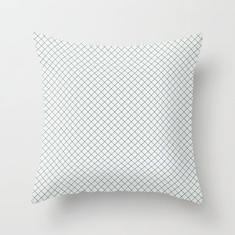 Blue & Off White Angled Grid Line Pattern Pairs To 2020 Color of the Year Chinese Porcelain Throw Pillow