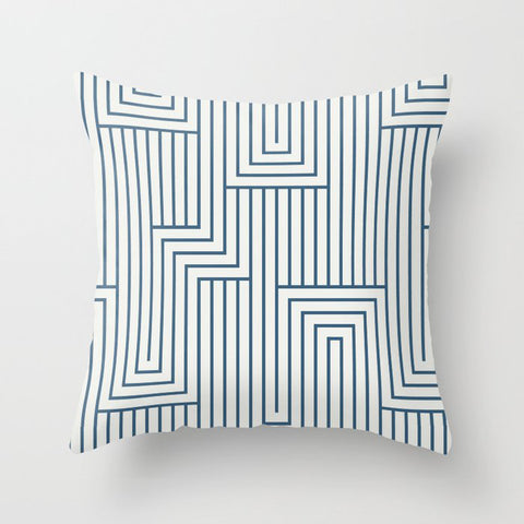 Blue & Off White Art Decor Pattern 2 Inspired by Chinese Porcelain 2020 Color of the Year Throw Pillow