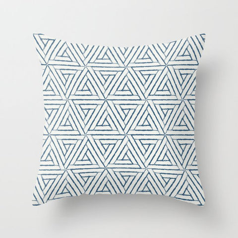 Blue & Off White Aztec Tribal Triangle Pattern Pairs To 2020 Color of the Year Chinese Porcelain Throw Pillow