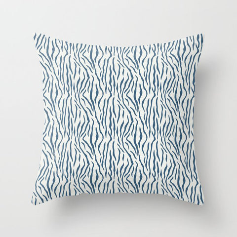Blue & Off White Bold Tiger Stripes Pattern Pairs To 2020 Color of the Year Chinese Porcelain Throw Pillow