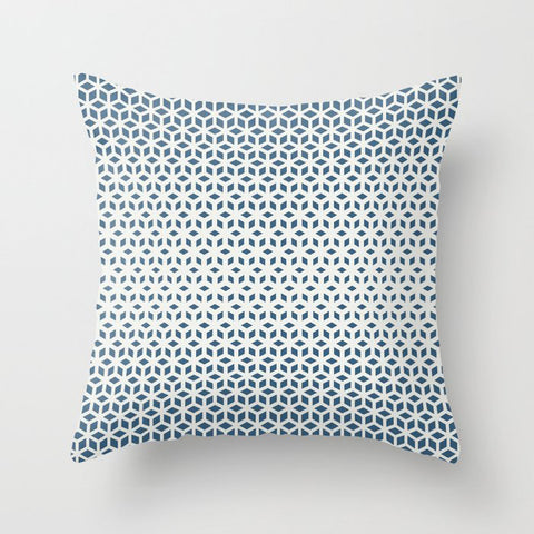 Blue & Off White Gradient Tessellation Cubism Pairs To 2020 Color of the Year Chinese Porcelain Throw Pillow
