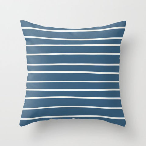 Blue & Off White Thin Hand Drawn Line Pattern Pairs To 2020 Color of the Year Chinese Porcelain Throw Pillow