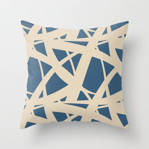 Dark Blue & Beige Abstract Mosaic Pattern 3 Pairs To 2020 Color of the Year Chinese Porcelain Throw Pillow