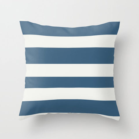 Dark Blue & Off White Wide Hand Drawn Line Pattern Pairs To 2020 Color of the Year Chinese Porcelain Throw Pillow