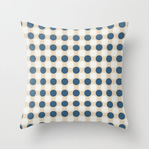 Dark Blue and Off White Uniform Large Polka Dots Pattern on Beige Matches Chinese Porcelain Blue Throw Pillow