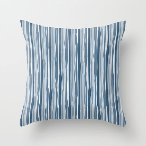 Dark Sea Blue Bold Grunge Vertical Stripe Pattern Pairs To 2020 Color of the Year Chinese Porcelain Throw Pillow