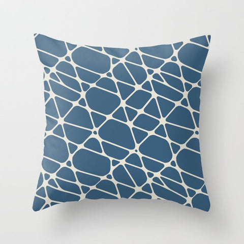 Linen White & Blue Abstract Mosaic Pattern 2 Pairs To 2020 Color of the Year Chinese Porcelain Throw Pillow