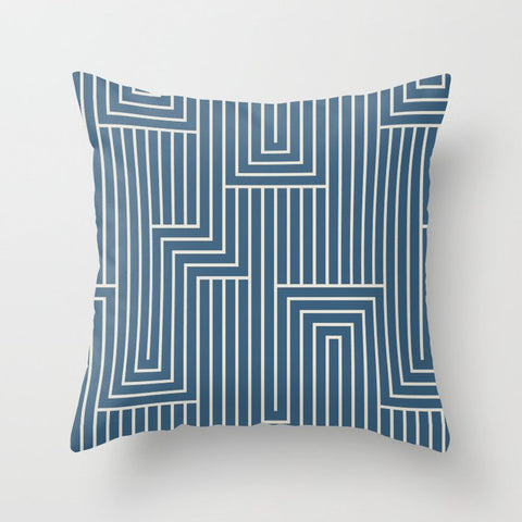 Linen White & Blue Art Decor Pattern 2 Inspired by Chinese Porcelain 2020 Color of the Year Throw Pillow