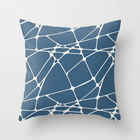 Off-white & Blue Abstract Mosaic Pattern 1 Pairs To 2020 Color of the Year Chinese Porcelain Throw Pillow