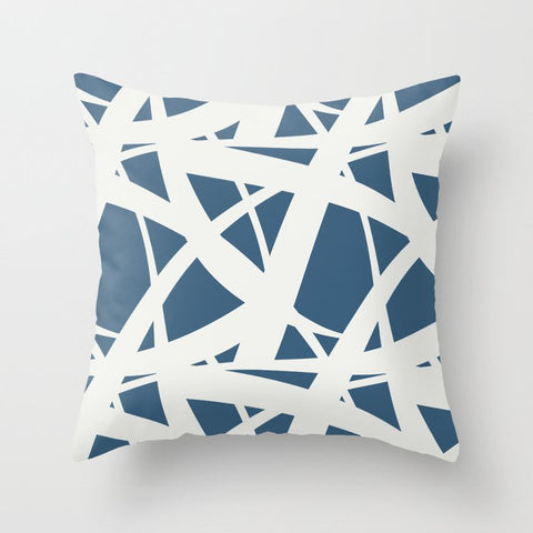 Off-white & Blue Abstract Mosaic Pattern 3 2020 Color of the Year Chinese Porcelain PPG1160-6 Throw Pillow