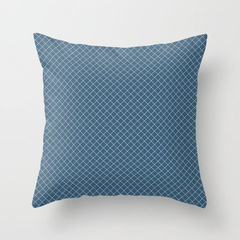 Off-white & Blue Angled Grid Line Pattern Pairs To 2020 Color of the Year Chinese Porcelain Throw Pillow