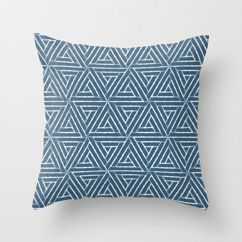 Off White & Blue Aztec Tribal Triangle Pattern Pairs To 2020 Color of the Year Chinese Porcelain Throw Pillow