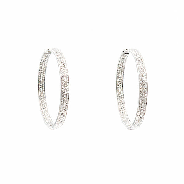 Large Pave Diamond Hoops