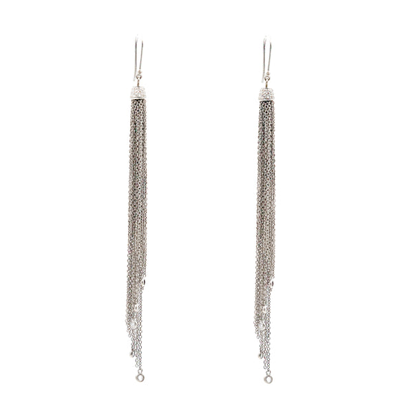 Oxidized Silver and Dimond Chain Tassel Earrings