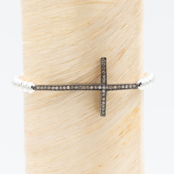 diamond cross signature bracelet