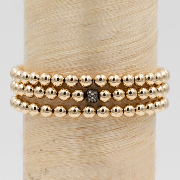 Oxidized Silver Mini Diamond Bead Signature Bracelet