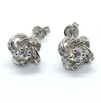 Sterling Silver Knot Stud Earrings - Alex Aurum