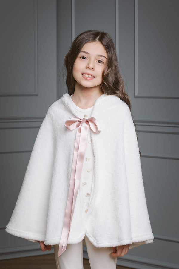 Fleece girls' cape Eliza - warm cloak for kids
