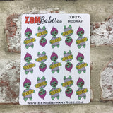 Hooray / celebrate Zombabe character sticker for planners (ZB27)