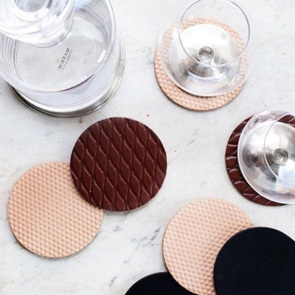 Patterned Leather Coaster Set in Multiple Textures and Shades
