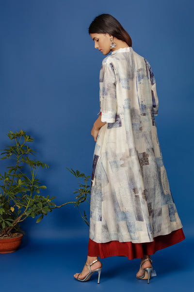 Floral & Abstract Printed Front Open Kurta. Ivory