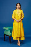 Embroidered Double Layered Kurta With Flared Palazzo. Yellow