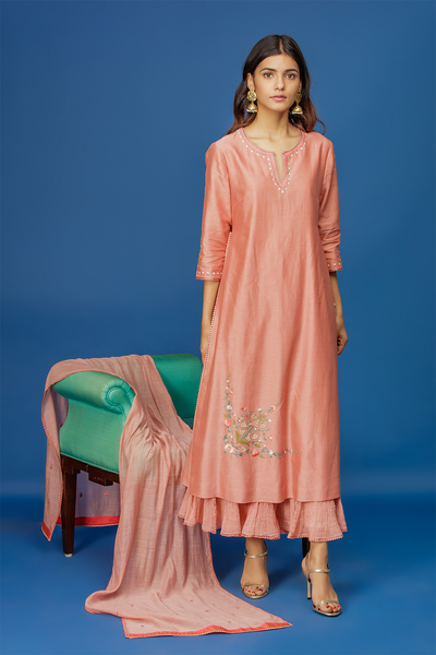 Floral Jaal Kurta With Crinkle Sharara & Dupatta. Old Rose