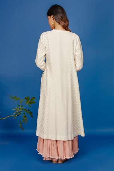 Embroidered Kurta With Dual Colour Crinkle Skirt & Dupatta. Ivory/old Rose