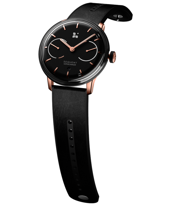SEQUENT, self-charging hybrid smartwatch, SuperCharger Rose Gold Edition, black dial, black Horween leather strap