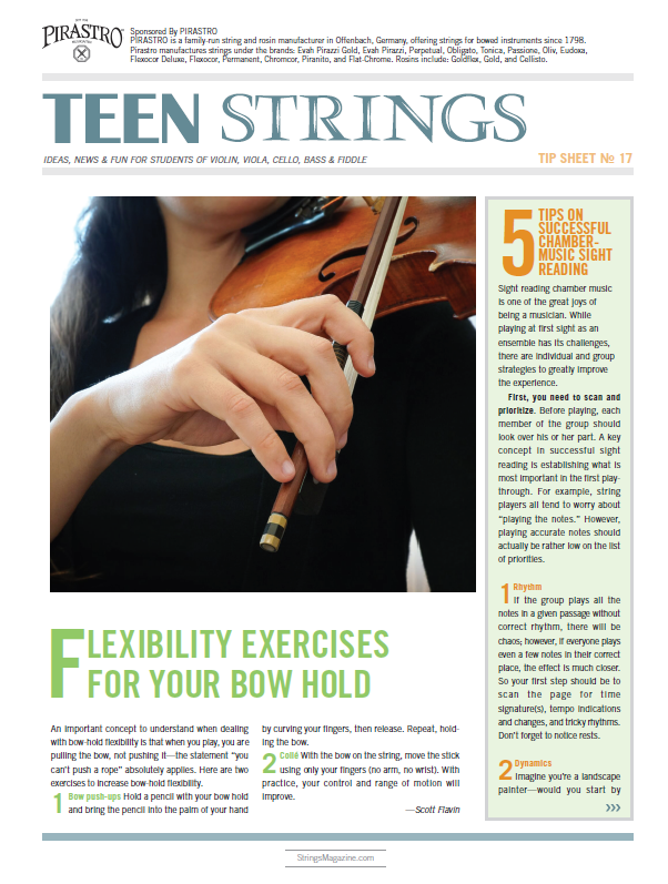 Teen Strings Tip Sheet #17: 5 Tips on Successful Chamber-Music Sight Reading