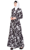 Printed Crepe Maxi Abaya Black And White Dress - Final Sale