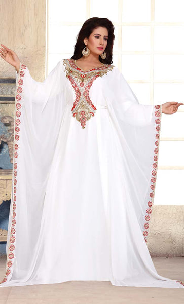 Beads Embroidered Ethnic Kaftan Style Abaya Dress